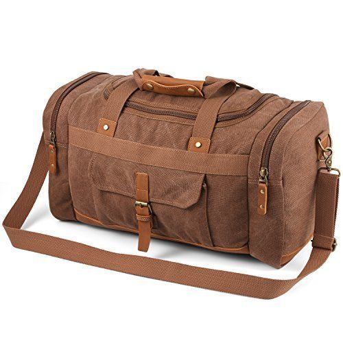 Plambag 50L Canvas Luggage Duffel Bag Travel Tote Shoulder Bag (Coffee)   fashion  clothing  shoes  accessories  unisexclothingshoesaccs   unisexaccessories ... 7bba693727dc3