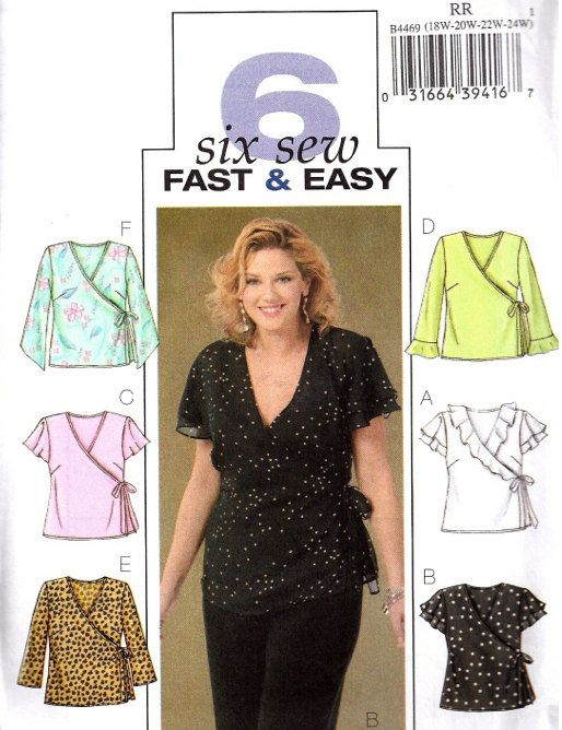 PLUS SIZE TOPS Sewing Pattern - Easy Women\'s Wrap Top 18w-24w ...