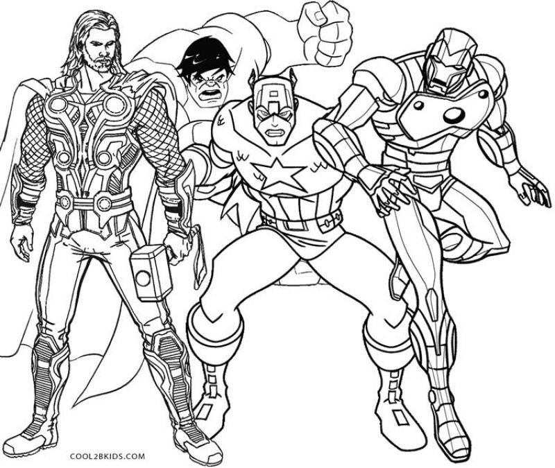 Thor with Hulk Captain America and Ironman coloring pages