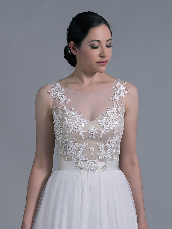 Bridal bolero illusion tulle lace wedding dress topper