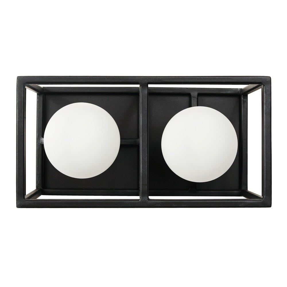 Photo of Plaza 2-light carbon and Havana gold bathroom light, black, Varaluz