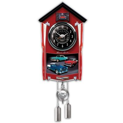 Bel Air Wall Clock Lights Up With Revving Sound Cuckoo Clock Chevy Bel Air Wall Clock Light