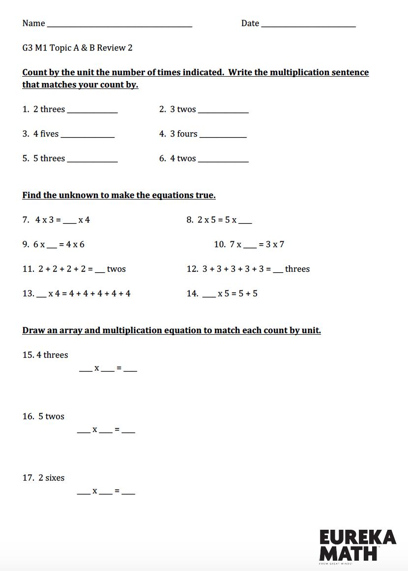 Grade 3 Module 1 Topics A B Review 2 Eureka Math Math Eureka [ 1162 x 830 Pixel ]