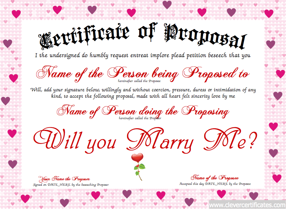 Marriage Proposal Certificate Free Certificate Templates You Can
