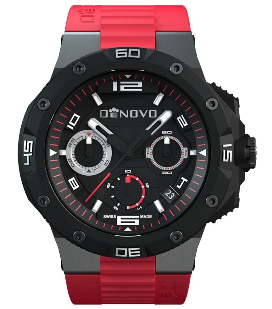 Denovo Dn2020 84nrr Men S Watch Black Dial Swiss Made Chronograph Sporty Red Rubber Strap Erkek Kol Saatleri Watches Ve Saatler
