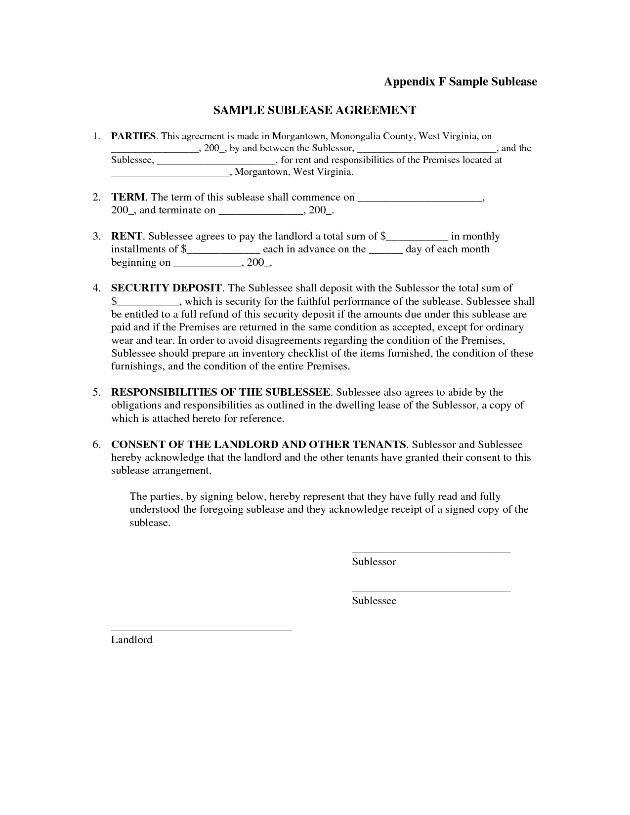 Appendix F Sample Sublease SAMPLE SUBLEASE AGREEMENT PARTIES This