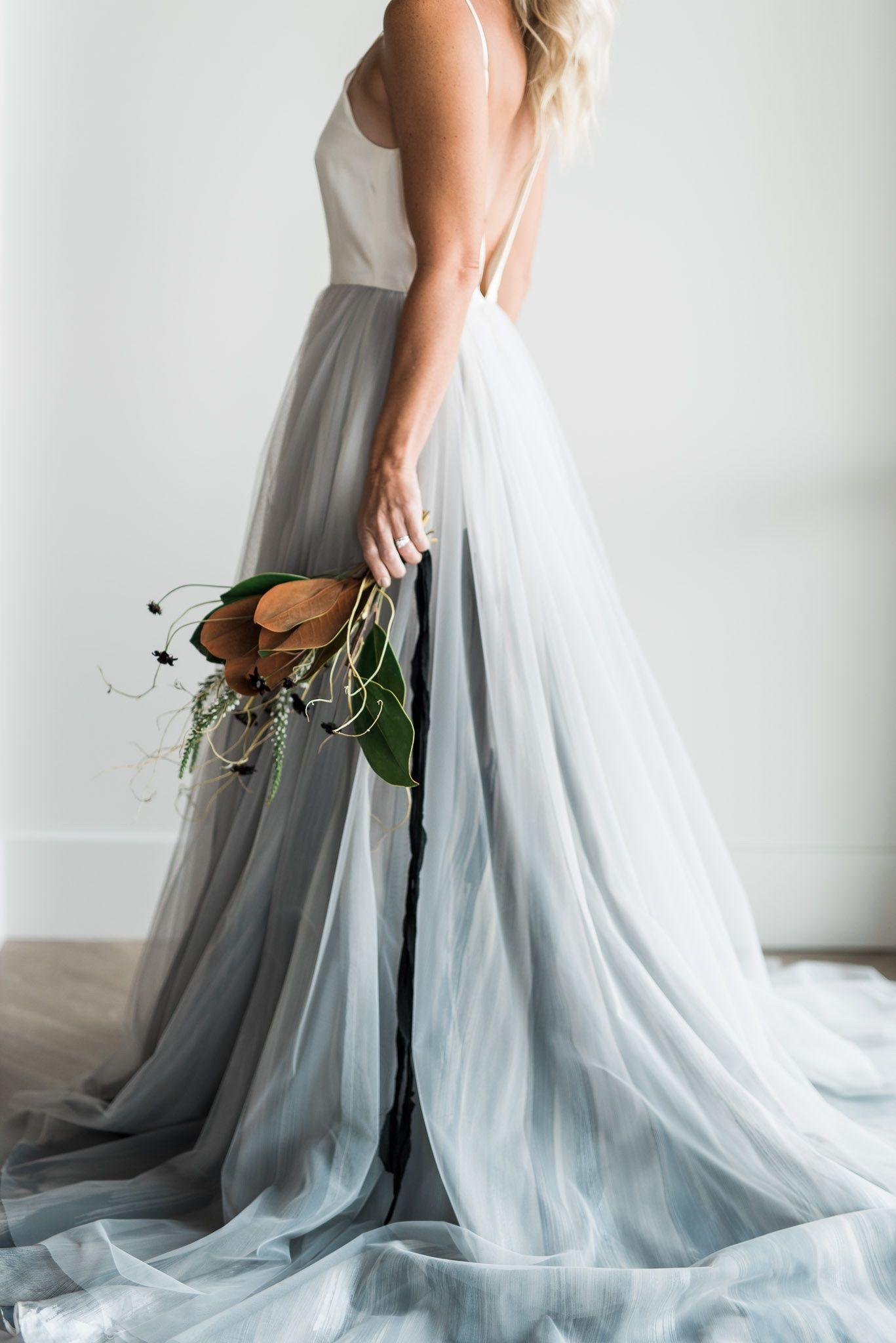 Grey Pearl Bridal Chantel Lauren Blue Grey Painted Skirt Kristen Kay Photography Las Vegas Wedding Dresses Grey Wedding Dress Pearl Wedding Dress