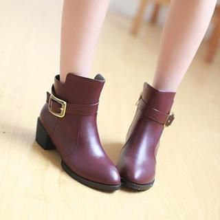 Pangmama - Faux-Leather Bulked Short Boots