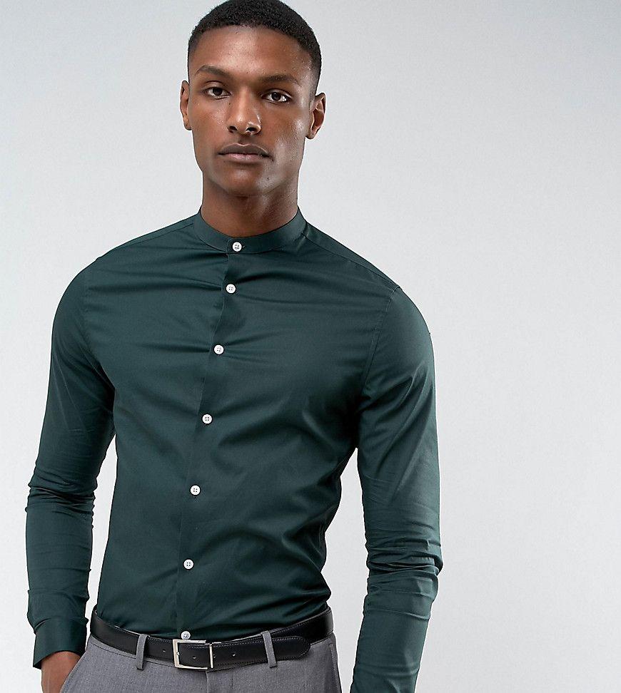 Dark green dress shirt  ASOS TALL Skinny Shirt In Dark Teal With Grandad Collar  Green