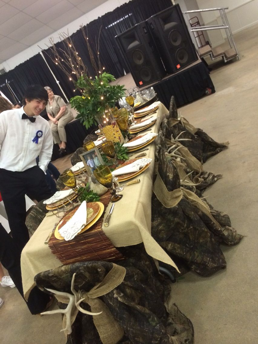 Senior Serve Camouflage With Deer Antlers Wild Game Dinner Decorations Fishing Themed Wedding