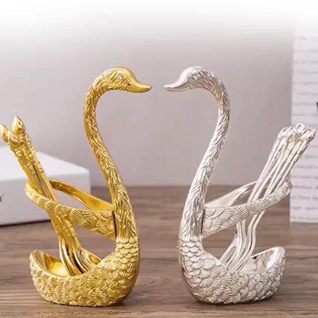 Classy Swan Shaped Cutlery Holder