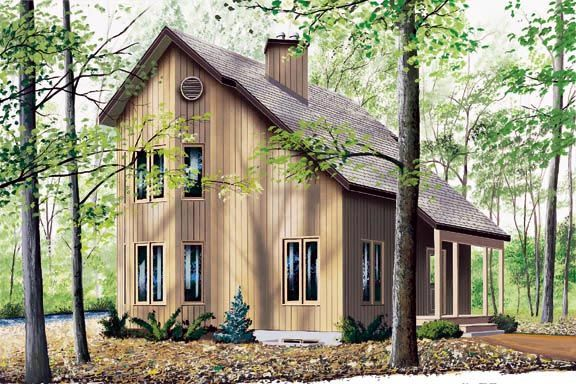 Narrow lot saltbox house plan 65232 main level entry for Two bedroom hall kitchen house plans