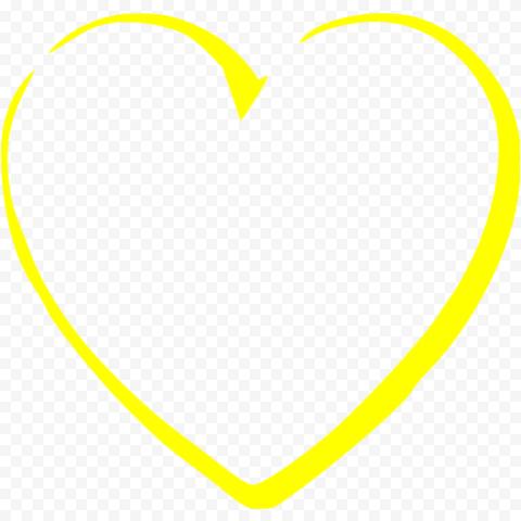 Yellow Heart Outline Art Effect Outline Art Heart Outline Yellow Heart