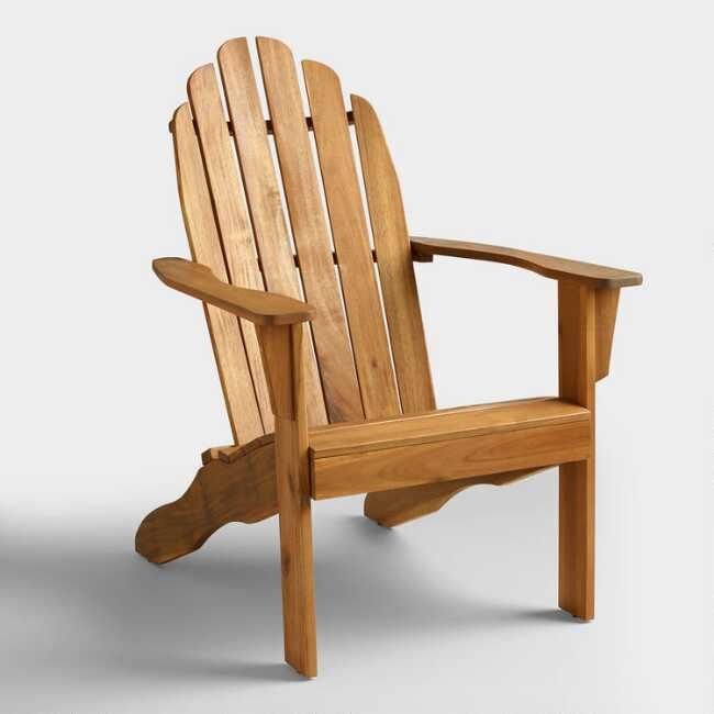 Natural Wood Adirondack Chair by World Market | Outdoor ...