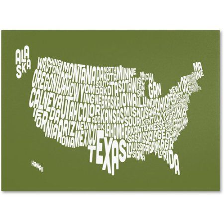 Trademark Art 'olive-USA States Text Map' Canvas Art by Michael Tompsett, Size: 22 x 32, Green