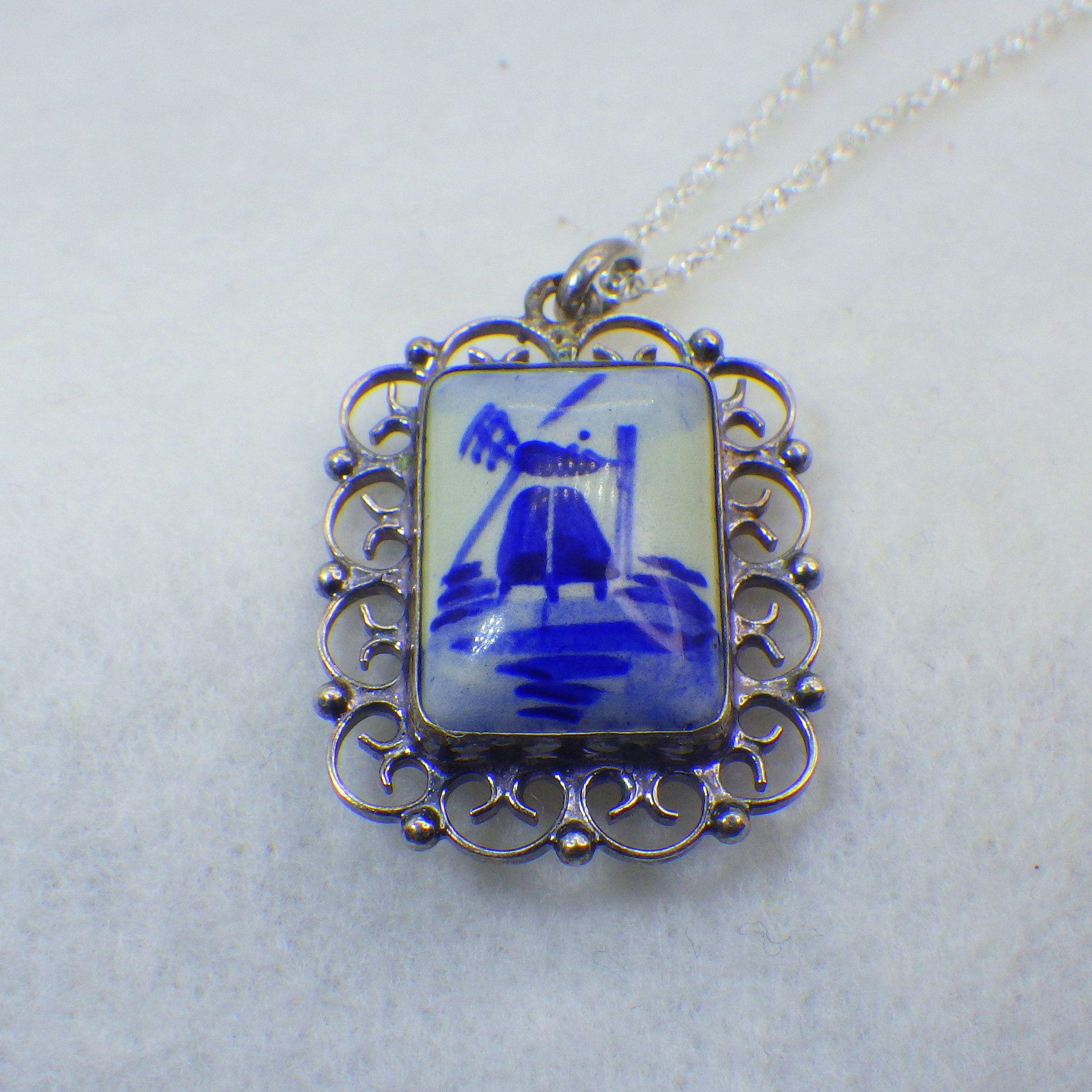 True Delft Porcelain Pendant Necklace Sterling Silver