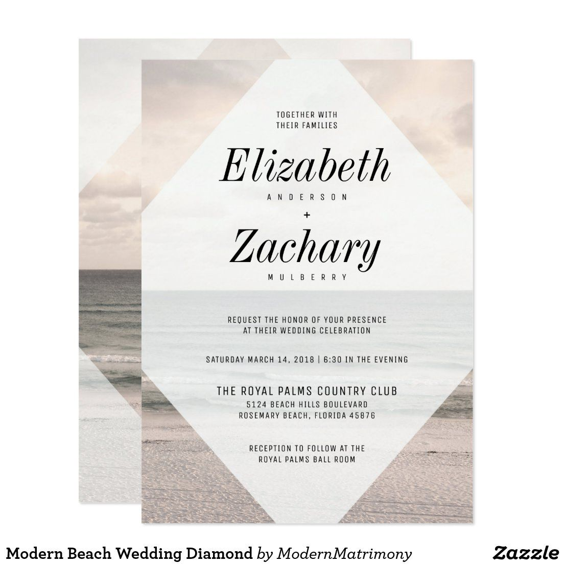 Modern Beach Wedding Diamond Invitation Zazzle Com Di 2020
