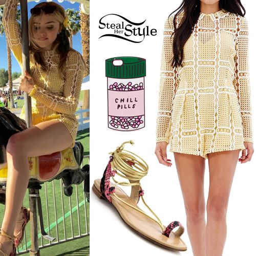 f3b36546fe Peyton List attended Day 3 of Coachella wearing an Alice McCall Stolen Dance  Playsuit ( 390.00)