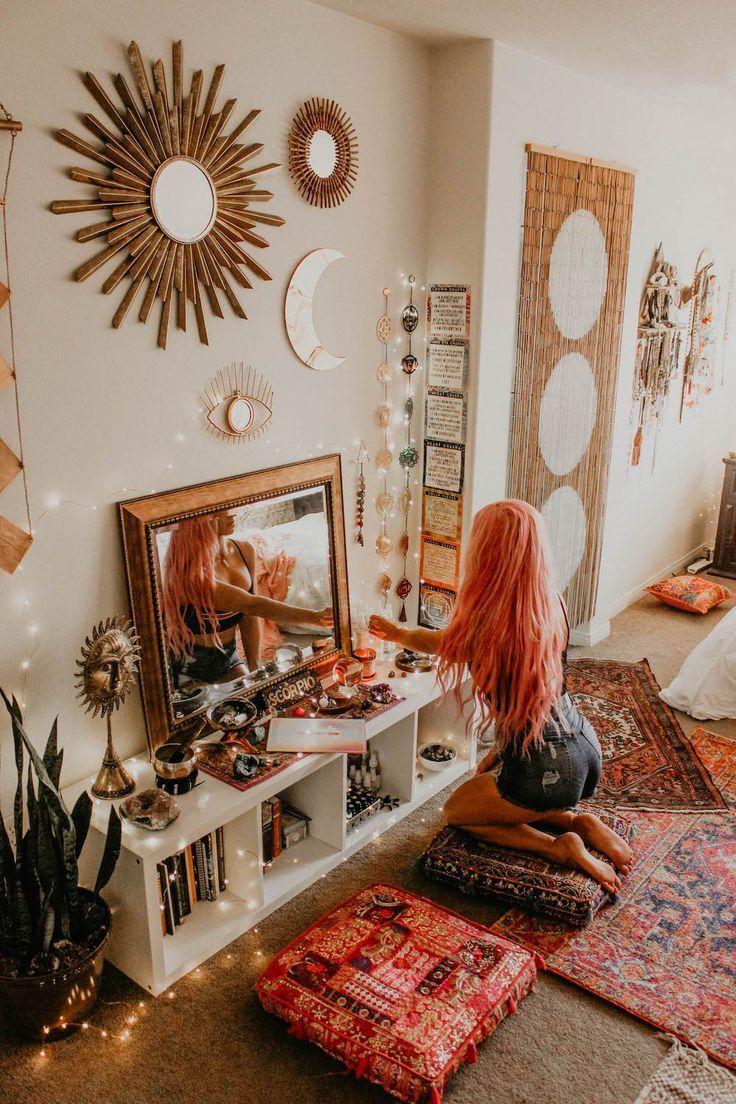 Mirrors everywhere in this boho decor livingroom. #boho #decor #altardecor #witch #altar #decor