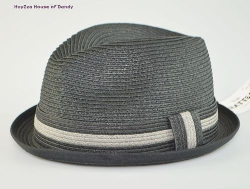 Mens Summer Straw Fedora Cuban Style Upturn Short Brim Hat M L L XL avl  Black  284d2855a81