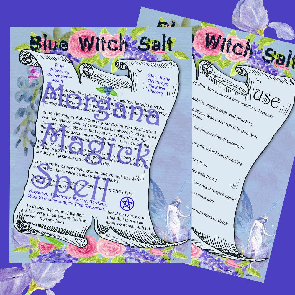 BLUE WITCH SALT - Protection & Healing, Digital Download, Book of Shadows, Scrapbook,  Wicca, Pagan, Witchcraft, White Magick, Magick Spell by MorganaMagickSpell on Etsy