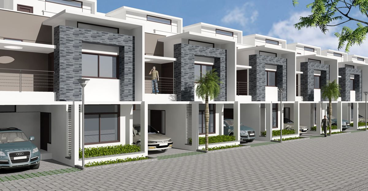 Front Elevation Of Row Houses : Project name uniworth tranquil type of apartments row