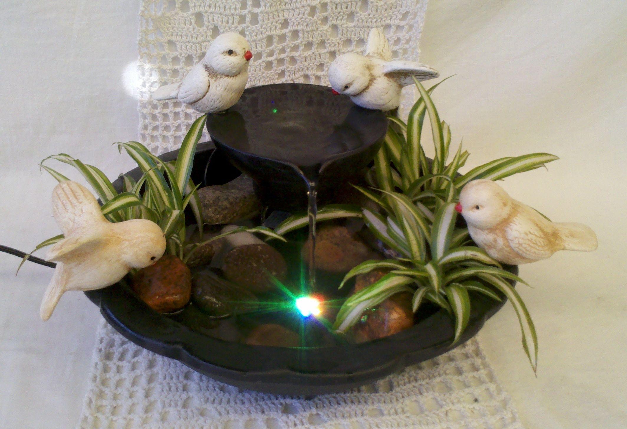 fuente de agua copa con gorriones y luz led | Fuentes de agua ...