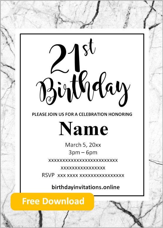 Free Printable 21st Birthday Invitations Templates Party Invitation 21st Birthday Invitations 70th Birthday Invitations 50th Birthday Party Invitations