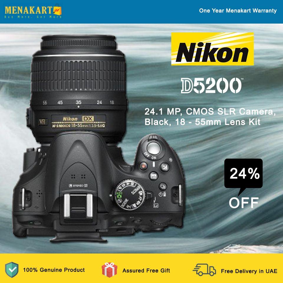 Nikon D5200 24 1 Mp Cmos Slr Camera Black 18 55mm Lens Kit Online At Menakart Com Slr Camera Nikon D5200 Camera