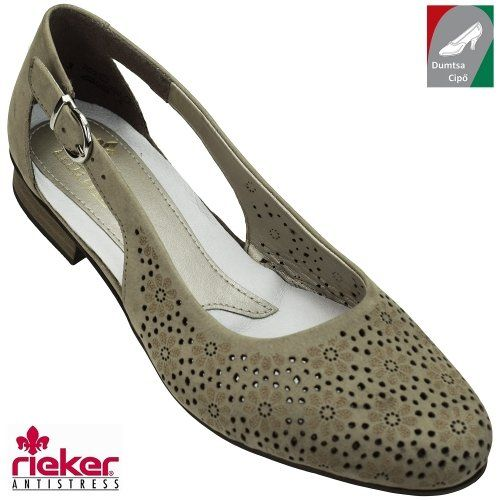 Rieker női bőr cipő 51996-65 barnásszürke  c6dbc516e4