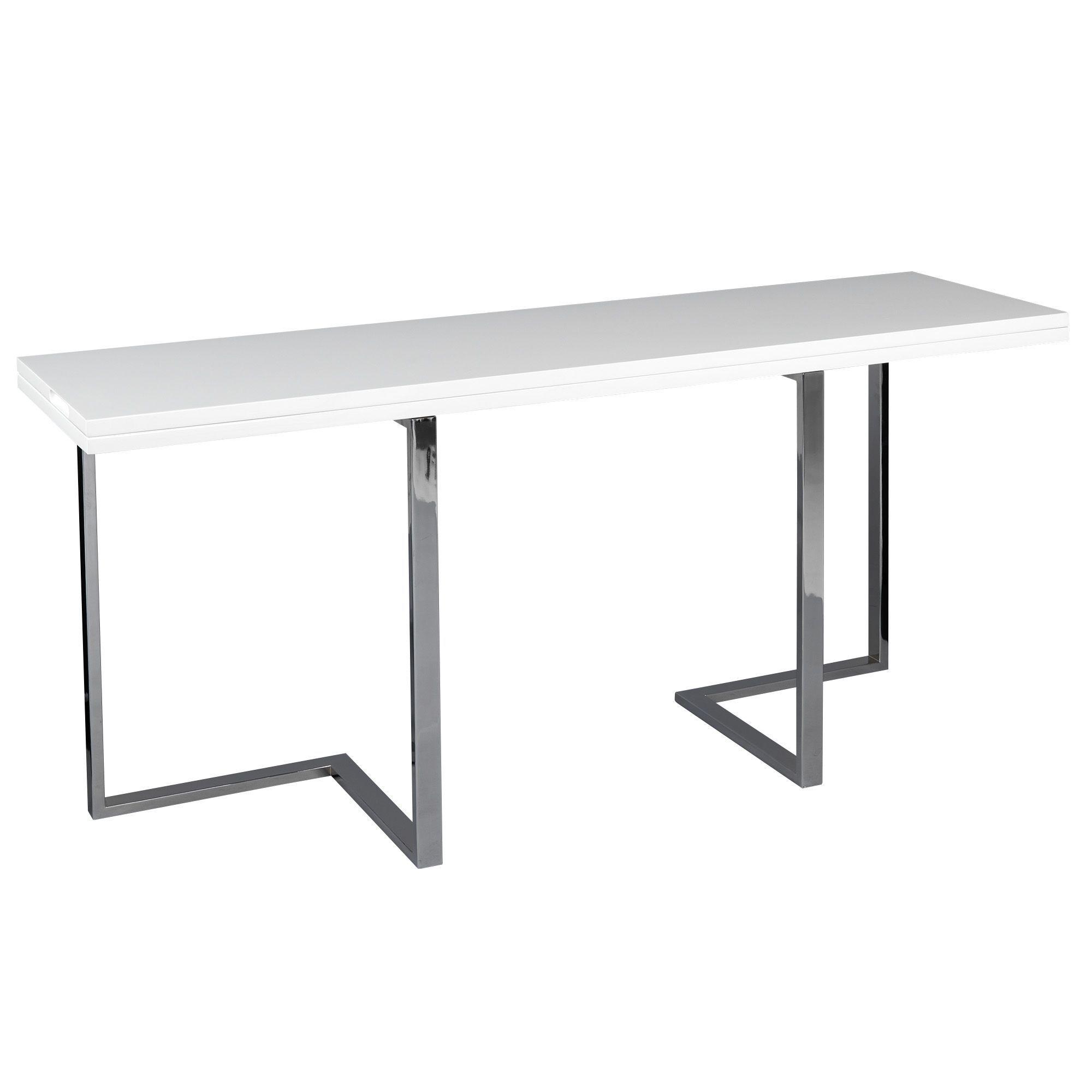 Table Pliante Extensible: Console Extensible En Table De Repas Blanc
