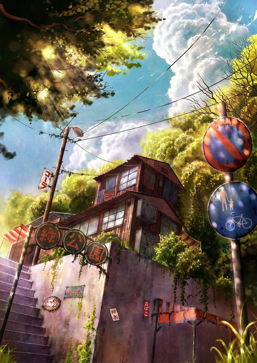 ANIME ART Anime Scenery City Town Buildings Stairway Street Signs Lamp Amazing Detail