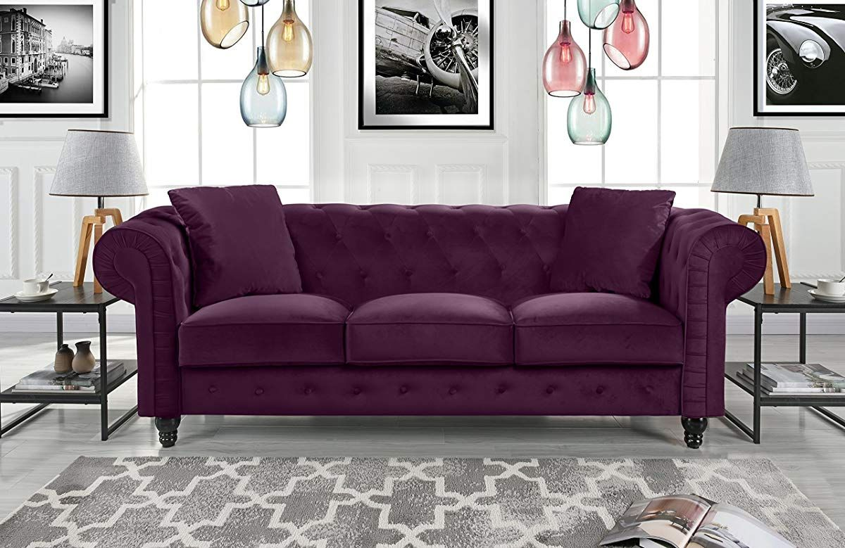 Divano Roma Furniture Classic Velvet Scroll Arm Tufted