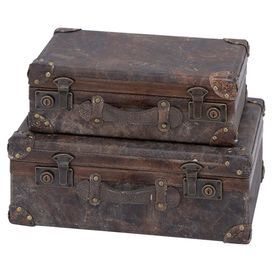 2 Piece Hingham Leather Trunk Set Leather Trunk Antique Inspiration Vintage Suitcases