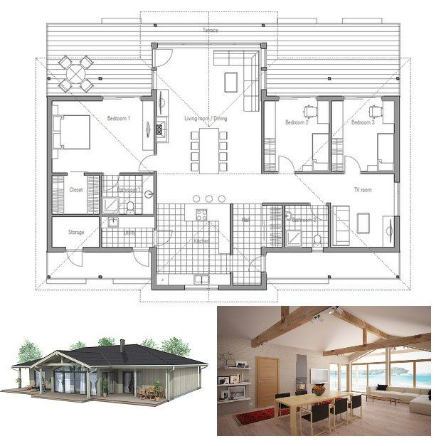 Small house plan with vaulted ceiling. All bedroom windows directed ...
