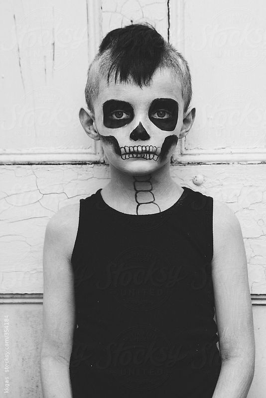 Halloween Makeup For Kids Boy.Portrait Of A Little Boy With Skeleton Make Up For Halloween