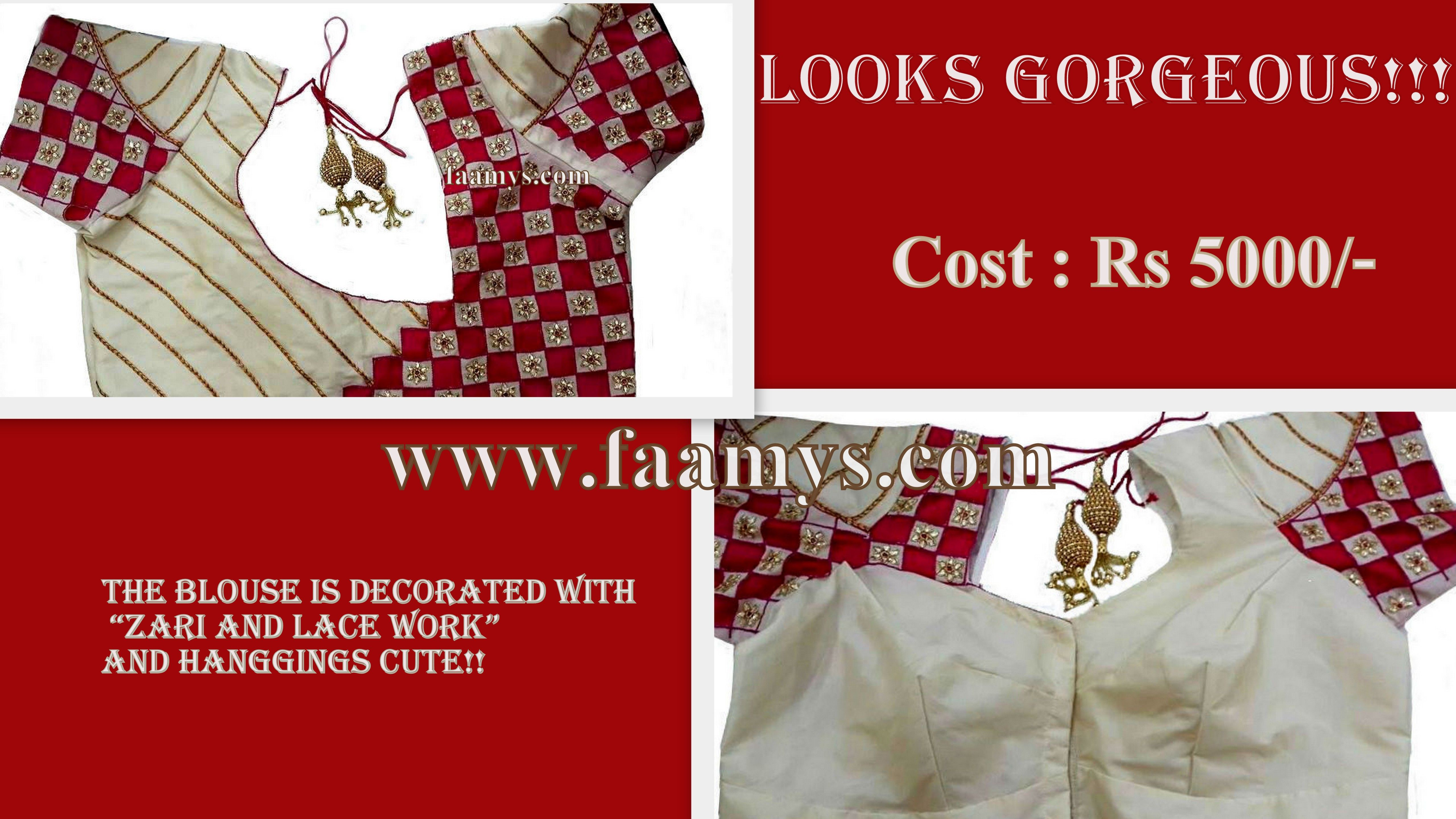 Cost Rs 5000 Visit Www Faamys Com Blouse Designs Looking Gorgeous Fashion
