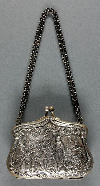Woman's silver purse, ca. 1850; Medium:  Silver, leather Dimensions:  3 1/4 x 4 inches   In the Swan's Shadow