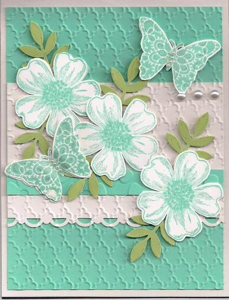 Stamps: SU Flower Shop, Creative Elements Paper: SU Shimmer, Costal Cabana & Pear Pizzazz Paper Size: 4 1/4 x 5 1/2 Ink: SU Costal Cabana Accessories: SU Scallop Trim Border & Elegant Butterfly Punch, SU Pearls, SU Fancy Fan Embossing Folder,SU Dimensionals, MS Leaf Punch, CMH small Pearls, Stardust Clear Glittering Gel Ink Pen