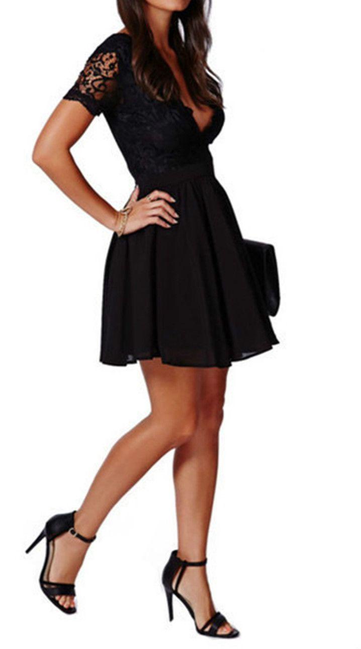 Womenus v neck short sleeve lace panel aline dress clothes xmas