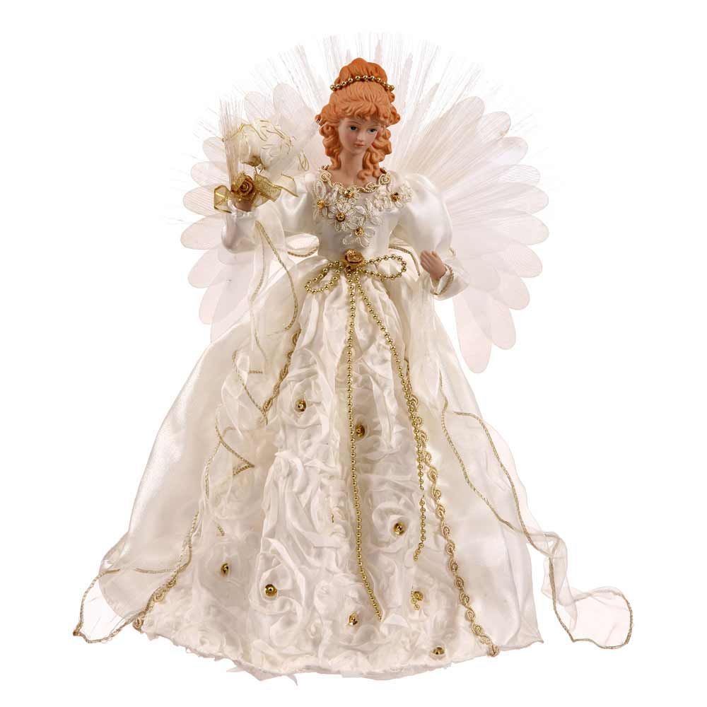 18 Inch White And Gold Angel Christmas Tree Topper Fiber Optic  - Christmas Angel Tree Topper Lighted