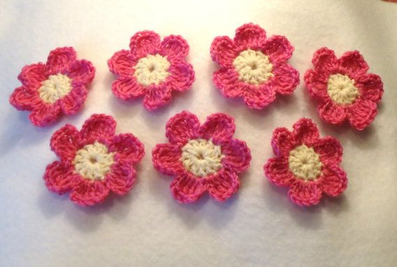 Crocheted Applique Flowers by TwistedFiberDesigns