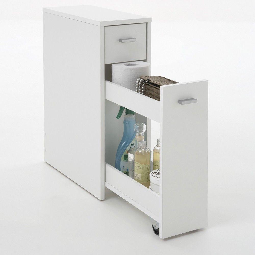 Mobiletto alrai per bagno in bianco opaco 45 00 astrofurn architettura d - Armadietti da bagno ...
