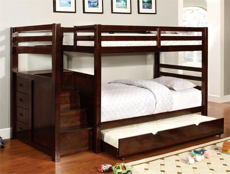 Bear Ridge Dark Walnut Twin Bunk Bed With Stairs