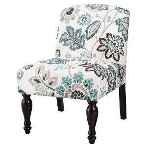 Best Foster Armless Slipper Chair Teal White Floral Click 400 x 300