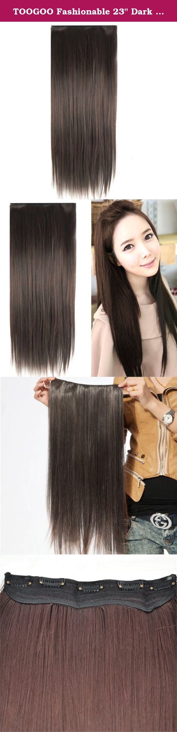 Toogoo Fashionable 23 Dark Brown Straight Full Head Clip In Hair