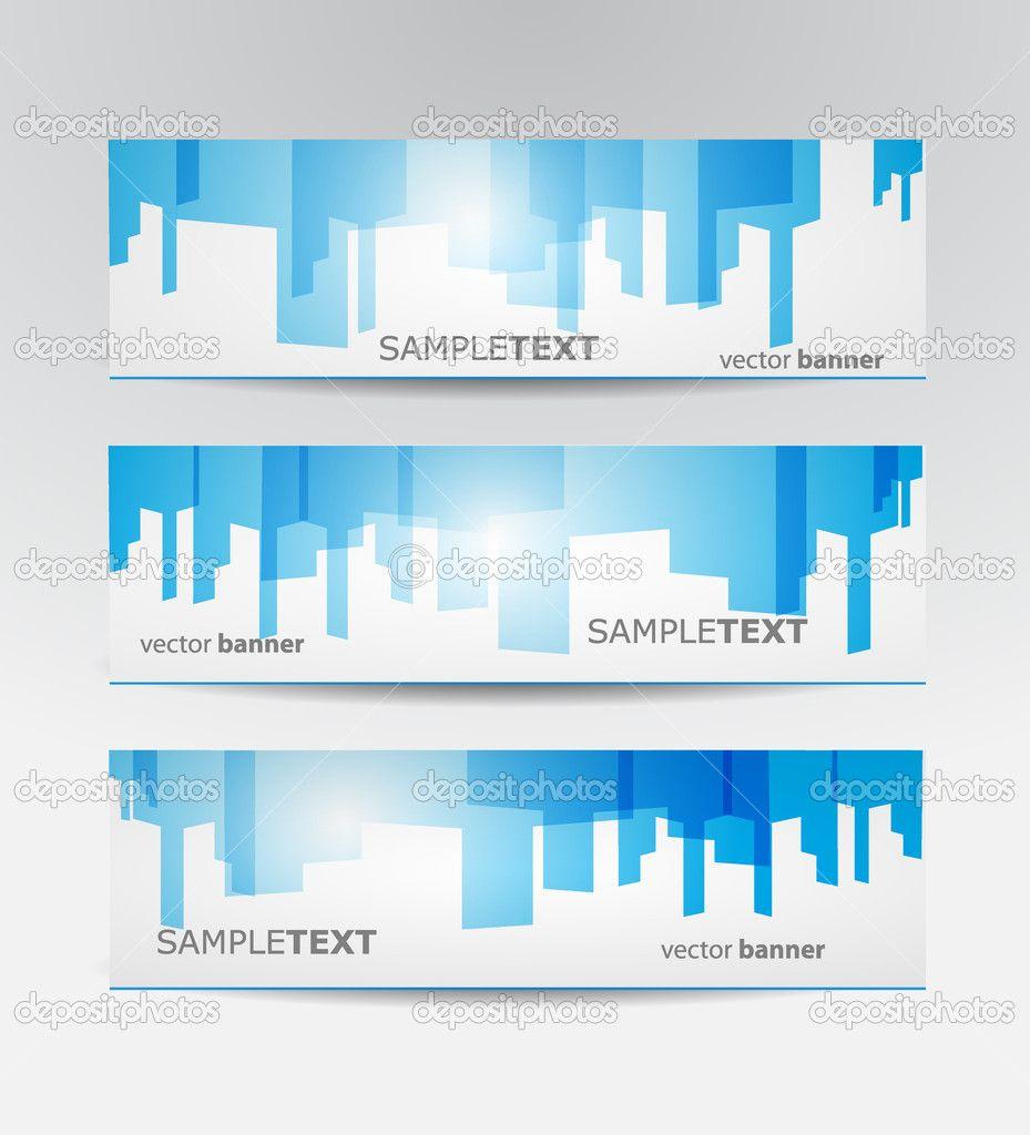 Abstract business website banner set vector design — Stock Vector ...