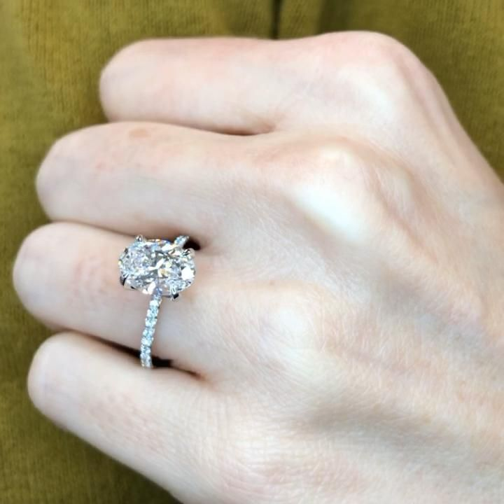 This is a perfectly custom made oval cut diamond solitaire engagement ring.   Create your own diamond ring at Ascot Diamonds.   #ovalcut #diamondengagementrings #engagementrings #labgrowndiamonds #solitaireengagementrings #ascotdiamonds