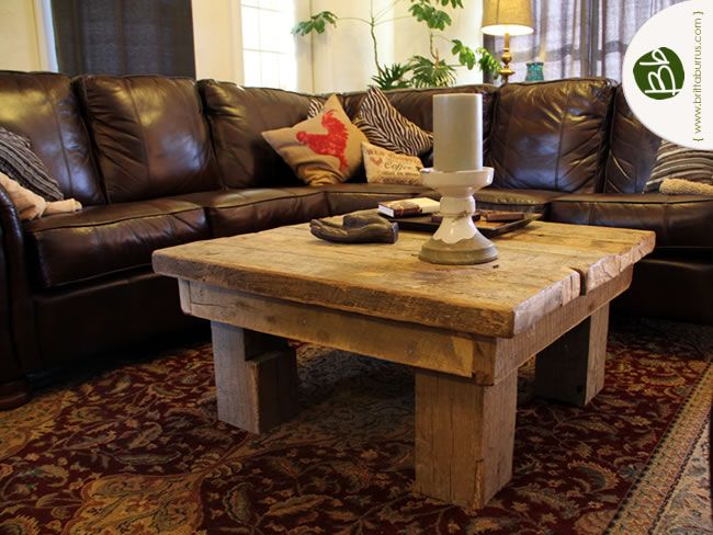 can we make a table like this with leftovers barn beams? - Reclaimed Wood Coffee Table With Some Hardware On It. Old Barn
