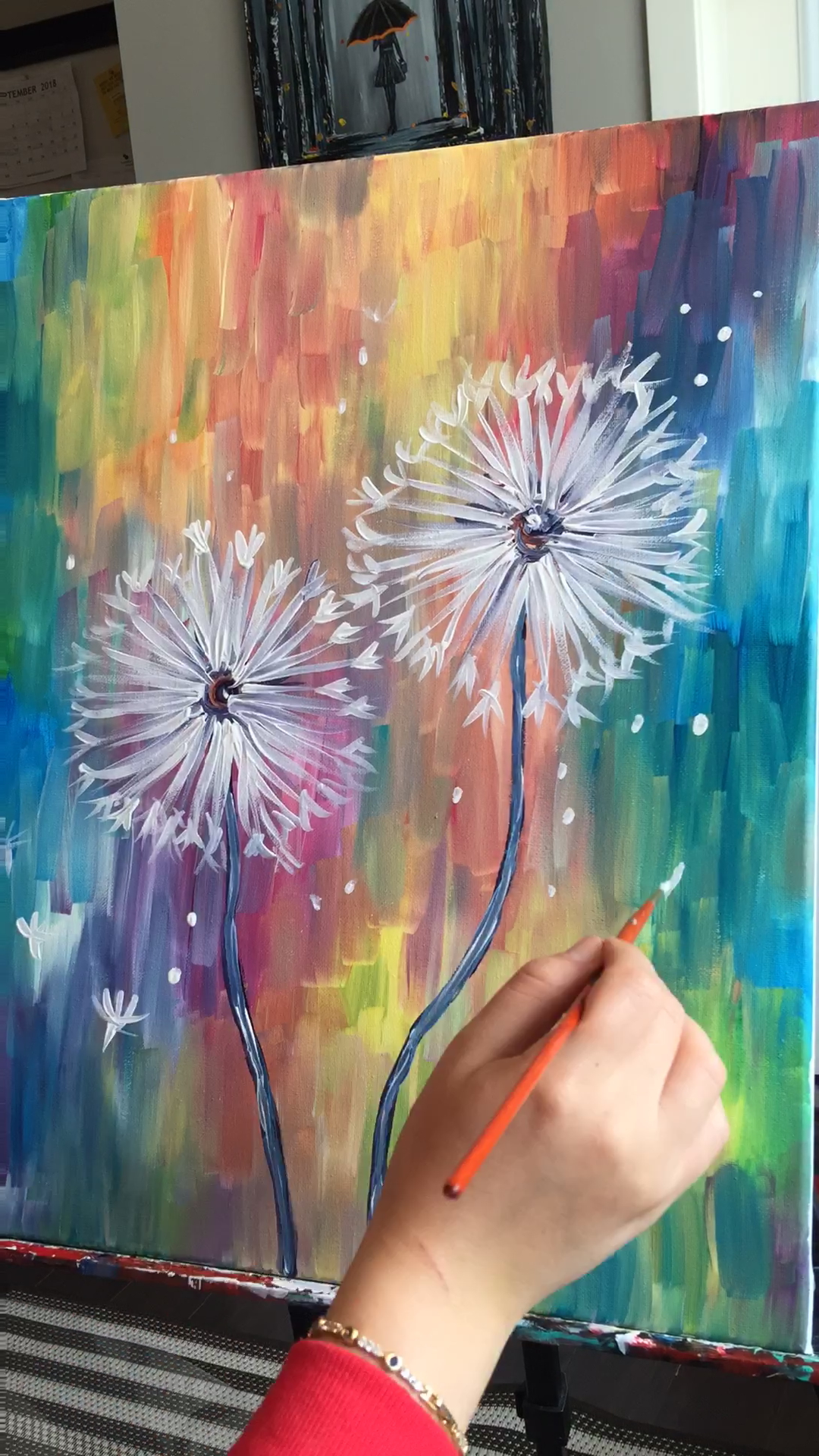 Photo of Colorful dandelion flower painting for art class, rainbow, acrylic art for beginners on canvas